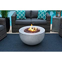 Firepits AKOYA Outdoor Essentials 30″ Fiber Concrete Outdoor Propane Gas Fire Pit Table Bowl in Gray firepits
