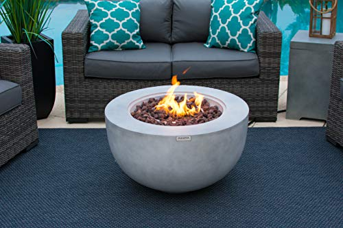 Fire Pits AKOYA Outdoor Essentials 30″ Fiber Concrete Outdoor Propane Gas Fire Pit Table Bowl in Gray firepits