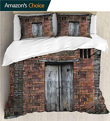 (VROSELV-HOME Full Queen Duvet Cover Sets,Box Stitched,Soft,Breathable,Hypoallergenic,Fade Resistant Bedding Set for Teen 3Pcs-Antique Weathered Brick Wall Facade (87