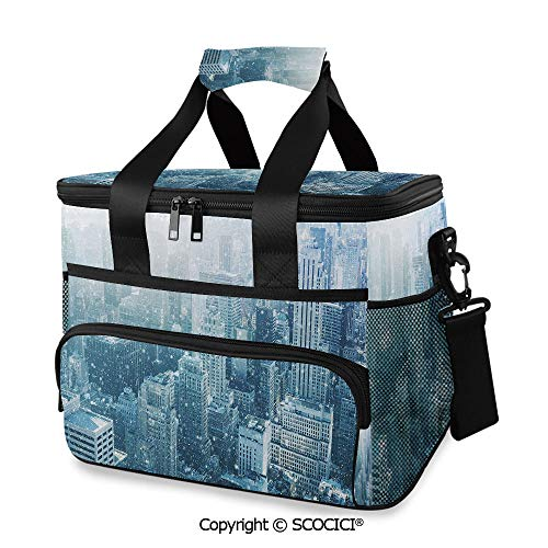 SCOCICI Cooler Cooling Tote Bag Snow in New York City Image Skyline with Urban Skyscrapers in Manhattan United States Decorative for Grocery, Camping, Car