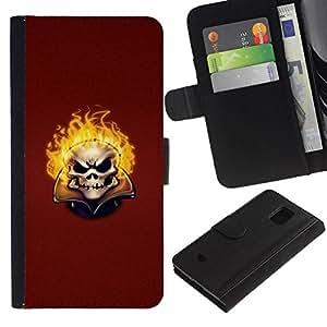 All Phone Most Case / Oferta Especial Cáscara Funda de cuero Monedero Cubierta de proteccion Caso / Wallet Case for Samsung Galaxy S5 Mini, SM-G800 // Flaming Evil Skull