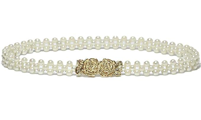 c795089939c035 Cheerlife Elatische Damen Schmaler mit Perlen Strasssteine Taillengürtel  Hüftgurt Kleidgürtel Für Party Hochzeit Kleider Dekoration Rose