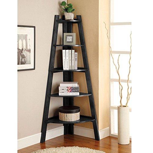 MOONBUY 5 Tier Wall Corner Shelf Stand Wood Ladder Bookshelf Bookcase Display Storage Home Furniture Black