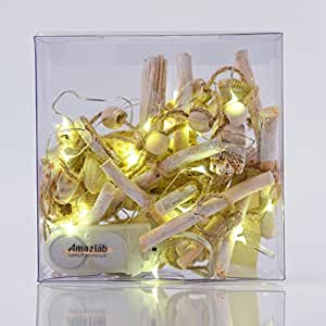 Amazlab Seashell and Driftwood String Lights Garland Wooden Decoration Ocean Style for Garden, Patio with Wooden Sticks, 2m/6.5ft