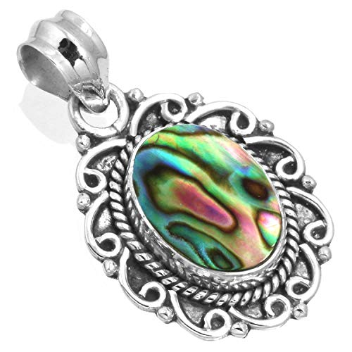 Sterling Pendant Handmade Silver Cabochon (Natural Abalone Shell Pendant 925 Sterling Silver Handmade Jewelry)