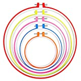 Caydo 5 Pieces 5 Colors Embroidery Hoops Plastic Cross Stitch Hoop Embroidery Circle Set, 4.7 Inch to 10.8...
