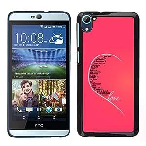 Cubierta protectora del caso de Shell Plástico || HTC Desire D826 || El amor de la tipografía del mensaje @XPTECH