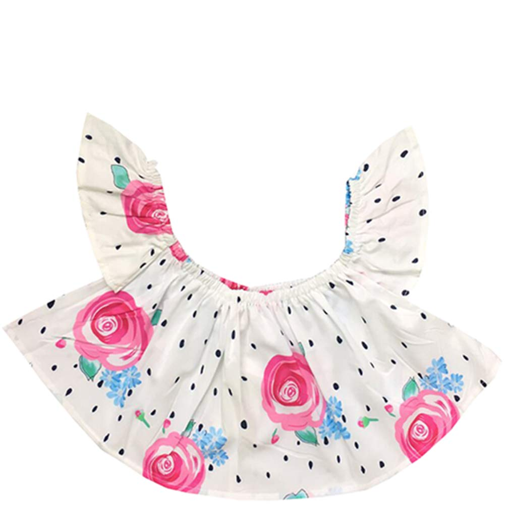 FCQNY Kids Girls 3pcs Ruffled Off Shoulder Tube Tops+Ripped Shorts Sets+Headband
