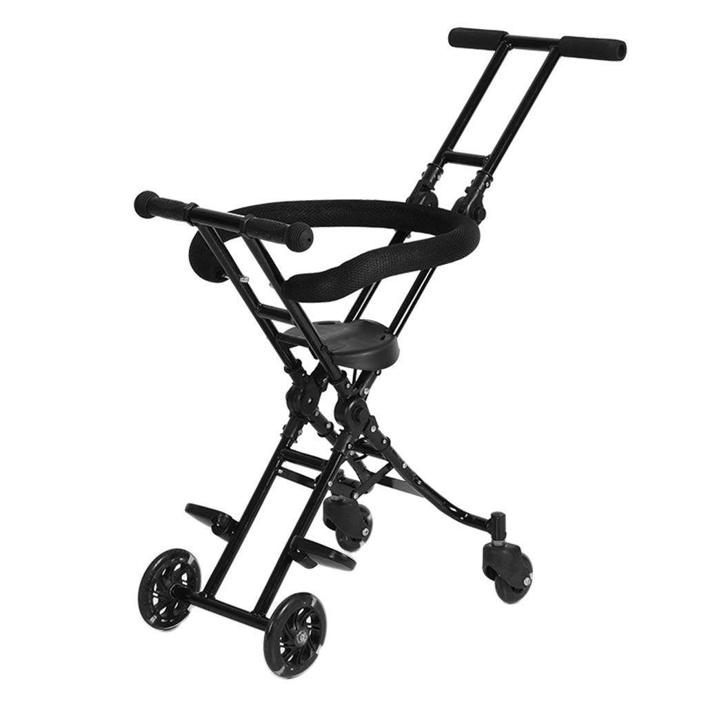 Baby Four-Wheeled Shatter-Resistant Lightweight Folding Children's Trolley Trend Adventure Travel System Range Aviation Aluminum Black 6.30