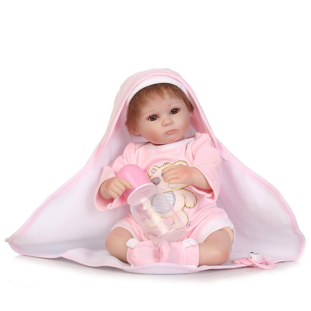 chinatera Little Girls Toy NPK Lifelike Simulation Reborn Cute Doll Soft Silicone Artificial Kids Cloth Doll by chinatera (Image #3)