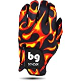 Bender Gloves Women's Spandex Golf Glove for Right Handed Golfers (Worn on Left Hand) (Flames, Large)