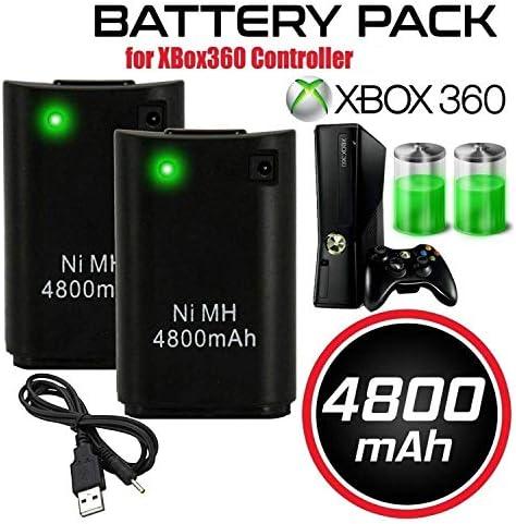 """OSAN 2x 4800mAh Ni-MH \""""Direct-Charge\"""" wiederaufladbar Batterie Akkus für XBOX 360 Remote Controller mit Ladekabel (Schwarz)"""