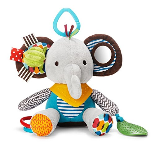 Skip Hop Bandana Buddies Baby Activity and Teething Toy with Multi-Sensory Rattle and Textures, (Big Squeak Elephant)