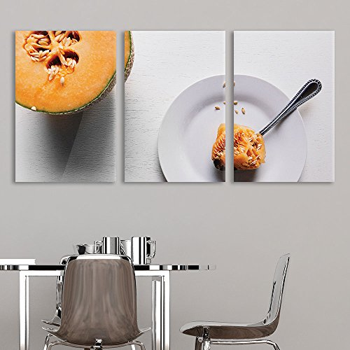 wall26 3 Panel Canvas Wall Art - Sweet Melon on The Plate - Giclee Print Gallery Wrap Modern Home Decor Ready to Hang - 24