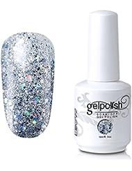 Elite99 Gel Nail Polish Soak Off UV LED Gel Lacquer Nail Art Manicure Glitter Clear 329 15ml