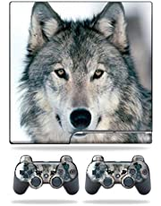 MightySkins Skin Compatible with Sony Playstation 3 PS3 Slim Skins + 2 Controller Skins Sticker Wolf