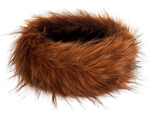 Futrzane Winter Faux Fur Headband for Women and Girls (Rusty with Brown)