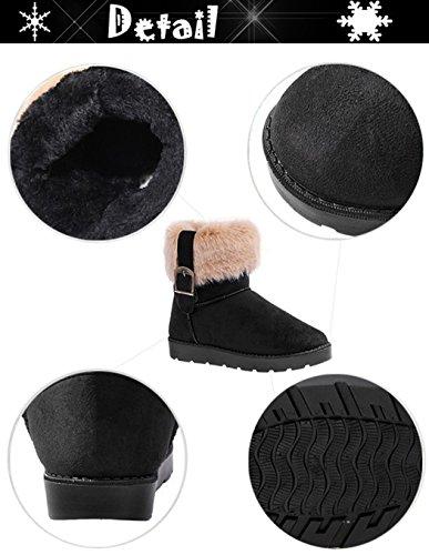 Eshion Dames Snowboots Enkellaarzen Warme Schoenen Zwart