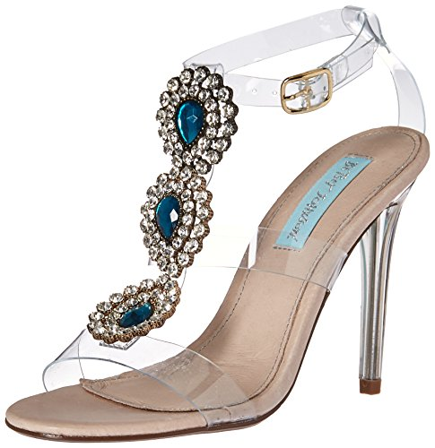Blue by Betsey Johnson Women's SB-Sylvi Heeled Sandal, Clear, 9.5 M US by Blue by Betsey Johnson