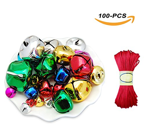 Jingle Bell Necklace Craft - NinkyNonk Jingle Bells Metal Christmas Bells Craft Bells for Decoration DIY Jewelry Making, 25mm, 20mm, 15mm, 10mm, 100pcs