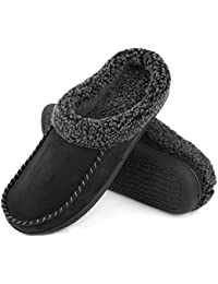 92367a936c1f2 Men s Cozy Memory Foam Moccasin Suede Slippers with Fuzzy Plush Wool-Like  Lining