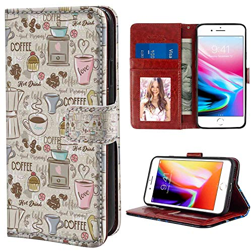 Modern Coffee Time Vintage Espresso Machine Cupcakes Beans Cute Design Beige Pale Pink and Umber Wristlet Wallet Case Fit iPhone 7 Plus/8 Plus 5.5in Protective Case