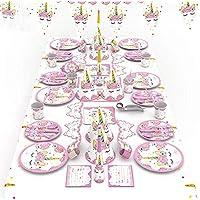 90pcs/set Pink Unicorn Theme Party Disposable Tableware Set Decoration Supplies Banner Hats mask Tablecloth Plates Bowouts Decoration Paper For Children Kids Favor Birthday Decoration Props