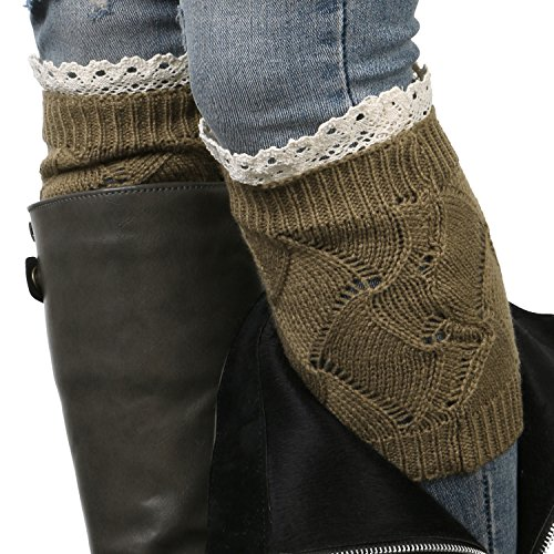 ililily Women Cable Knit Ribbed Boot Cuffs Socks Topper Liner Crochet Warmers , Brown Lace Knit from ililily