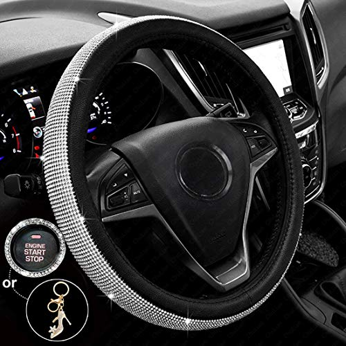 1999 2019 Jeep Grand Cherokee - New Diamond Leather Steering Wheel Cover with Bling Bling Crystal Rhinestones, Universal Fit 15 Inch Anti-Slip Wheel Protector for Women Girls,Black