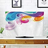 iPrint LCD TV Cover Lovely,Colorful Home Decor,Abstract Art Splash Drops with Computer Digital Concept Paintbrush Effect,Multi,Diversified Design Compatible 32'' TV