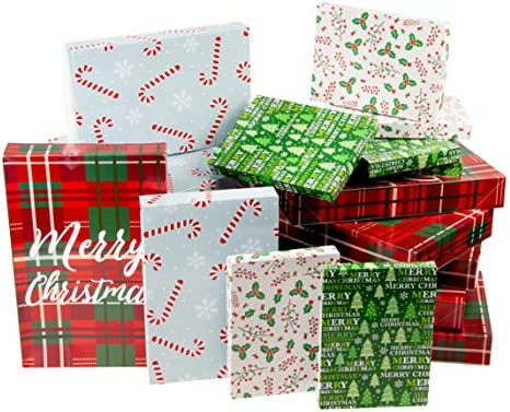 Juvale Box – 24-Pack Gift Wrapping Paper Boxes, Christmas Boxes for Gifts with Lids for Holiday Presents, 3 Sizes, 4 Assorted Festive Designs