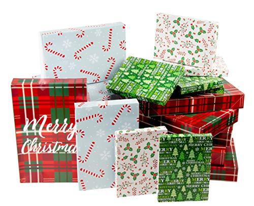Christmas Gift Box - 24-Pack Gift Wrapping Paper Boxes, Christmas Boxes for Gifts with Lids for Holiday Presents, 3 Sizes, 4 Assorted Festive Designs -