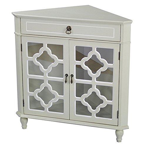 - Heather Ann Creations Modern 2 Door Corner Cabinet with Drawer with 8 Pane Clover Glass Insert Beige/White Trim