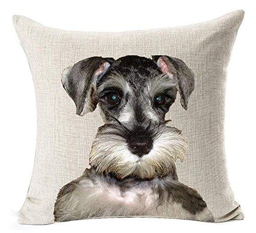 18 x 18 Inches Cotton Linen Cartoon Lovely Animal Abstract Watercolor Adorable Pet Dogs Little Bichon Havanais Havana Throw Pillow Covers Cushion Cover Decorative Sofa Bedroom Living Room Square