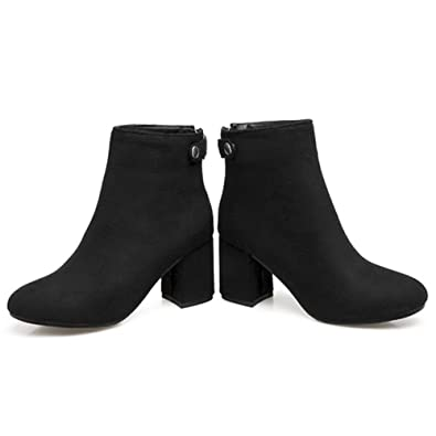 Women Back Zip-Up Round Toe Square Thick Heel Ankle Booties Grind Arenaceous Suede Martin Boots