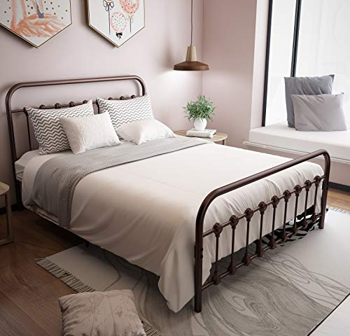URODECOR Metal Bed Frame with Headboard and Footboard Mattress Foundation The Country Style Iron Platform Bed, Antique Bronze,Queen Size Queen, Antique Brown