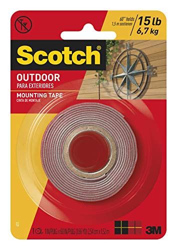 Sided Mounting Double Self Stick - Scotch Mounting, Fastening & Surface Protection Scotch Outdoor Mounting Tape, x 60-inches, Gray, 1-Roll (411P), 1-inch inches, 15 Pound