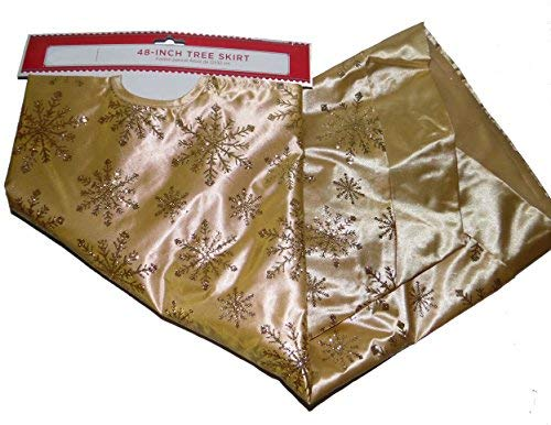 Satiny Gold with Glitter Snowflakes Christmas Tree Skirt 48 Inch (Gold Christmas Tree Skirt)