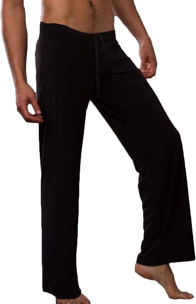 Men Gauze Mesh Pants Guy Comfy Lounge Homewear Spun Yarn Casual Trousers
