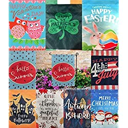Seasonal Garden Flag Set Outdoors Garden Decorations | 9 Pack Assortment 12-inch x 18-inch Flags | Double-Sided, Polyester, Great Yard Decor to Welcome Friends & Family