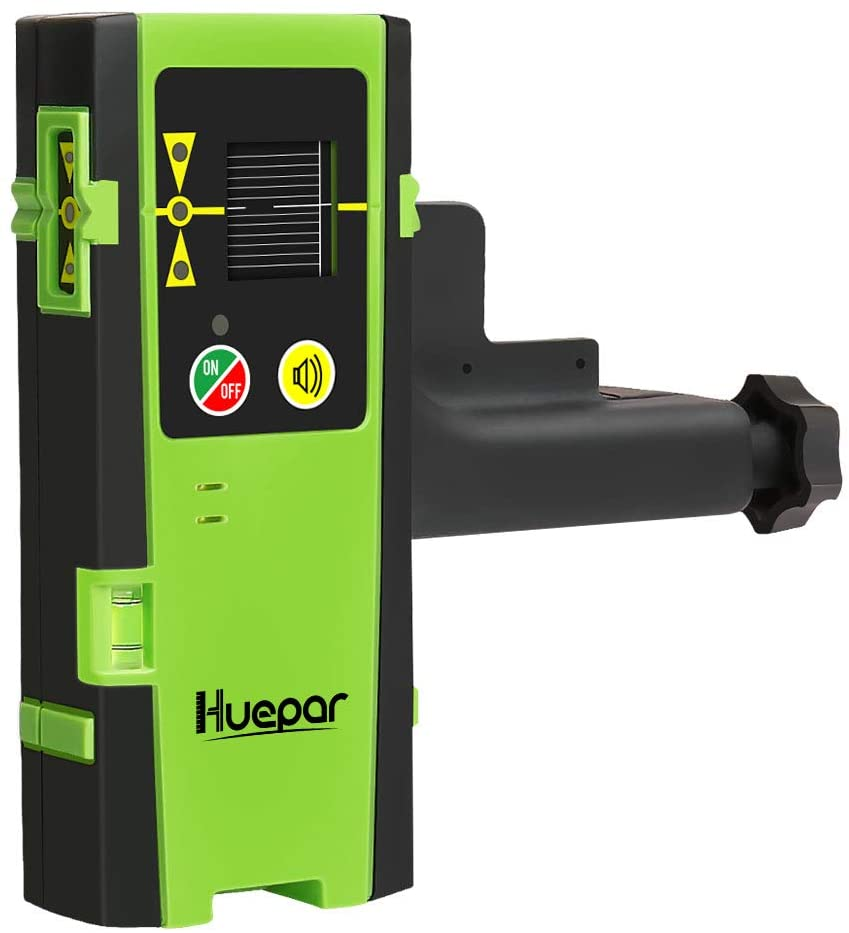 Huepar Laser Detector for Line Laser Level, Digital Laser Receiver Used with Pulsing Line Lasers Up to 200ft, Detect Red and Green Laser Beams, Three-Sided LED Displays, Clamp Included LR-6RG