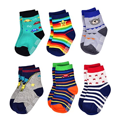 (Flanhiri Baby Boys Toddler Non Skid Cotton Socks with Grip (6-12 Months, 6 Designs/Set)