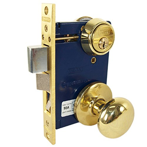 Iron Mortise Lockset (Marks 22AC/3-W-RH Polished Brass Right Hand Ornamental Knobe Rose Mortise Entry Iron Gate Door Double Cylinder Lock Set 2-1/2
