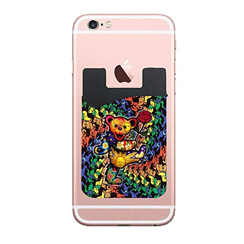 ZninesOnhOLD 3D Grateful Dead Dancing Bears Stick On Card Holder Wallet, Credit Card Phone Wallet Case for Any iPhone or Android