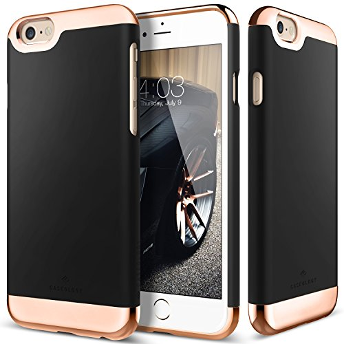 iPhone 6S Case, Caseology [Savoy Series] Chrome / Microfiber Slider Case [Black] [Premium Rose Gold] for Apple iPhone 6S (2015) & iPhone 6 (2014) - Black - Kids Accents