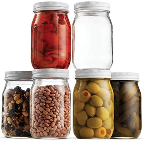 "Glass Mason Jars 16 Ounce (1/2 Quart) - 6 Pack - Regular 3"" Mouth, Metal Airtight Lid, USDA Approved, Pickling, Preserving, Jam, Jelly, Canning Jars, Dry Food Storage, Craft Storage, Decorating Jar."