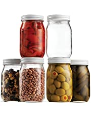 Glass Mason Jars (6 Pack) - Regular Mouth Jam Jelly Jars, Metal Airtight Lid, USDA Approved Dishwasher Safe USA Made Pickling, Preserving, Decorating, Canning Jar, Craft and Dry Food Storage (16 Ounce)