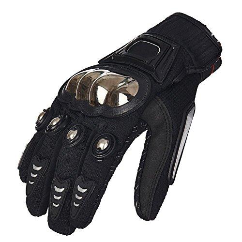 TINTON LIFE® Metal Protective Motorcycle Gloves Full Finger Gloves Summer Motorbike Gloves, Black Large