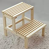 Gflyme 2 Step Ladder Stool Solid Wood Staircase Step Stool Shoe Bench Flower Stand Rack,Bathtub Barrel Footrest Stool Climb High Pedal Stool,Wood Color,404441cm