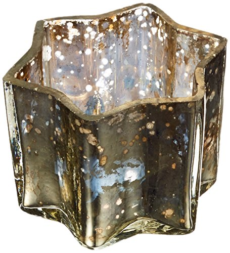 Insideretail Mercury Glass Star Tea Light Holders - with Distressed Silver Foil, 7cm x 7cm x 4.5cm, Set of 48,